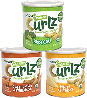 Sprout Organic Curlz Toddler Snacks, Variety Pack, 1.48 Ounce Canister (Pack of 6) 2 of Each: White Cheddar, Broccoli, and...