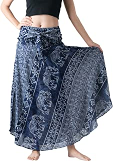 Women's Long Maxi Bohemian Hippie Skirt Boho Dresses Elephant One Size Asymmetric Hem Design