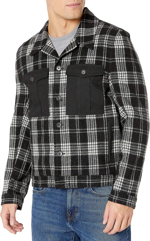 Billy Reid Men's Standard Fit Wool Cotton Combo Shirt Jacket