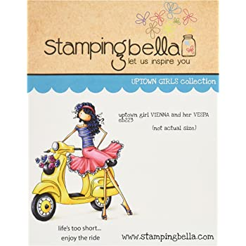 Stamping Bella Uptown Girl Vienna /& Her Vespa Cling Rubber Stamp 6.5 x 4.5