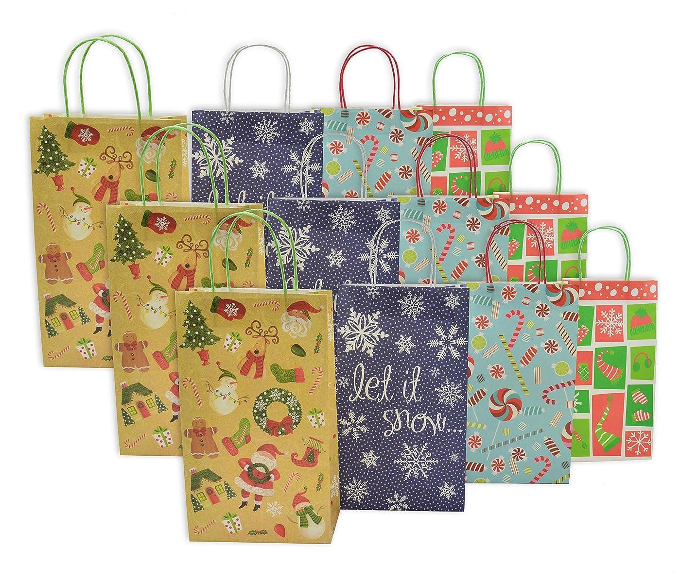 Christmas Medium Gift Bags Christmas Designs Goodie Bags White Kraft, 12 Pack