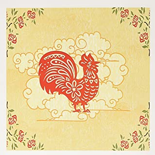 3dRose Decorative Country Red Roosters and Roses Animal Design - Greeting Cards, 6 x 6 inches, set of 12 (gc_119097_2)