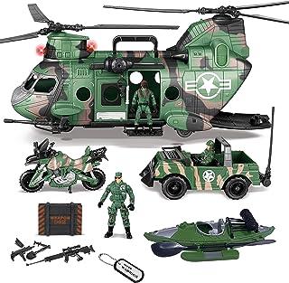 مجموعة لعبة طائرة الهليكوبتر للنقل العسكري جامبو 10 في 1 من جوين، تتضمن طائرة هليكوبتر مع ضوء وصوت واقعيين، شاحنة عسكرية، ...