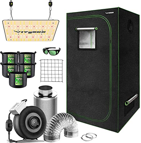 """lowest VIVOSUN 32""""x32""""x63"""" Mylar new arrival Hydroponic Grow Tent Complete Kit with 4 Inch 203 CFM Inline Fan Package, VS1000 LED outlet online sale Grow Light, Glasses, Grow Bags, Trellis Netting online"""