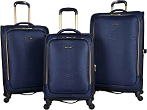 "Aimee Kestenberg Women's Parker Jacquard Polyester Expandable 4-Wheel 3-Piece Luggage Set; 20"" Carry-on, 24"", 28"" , Navy"