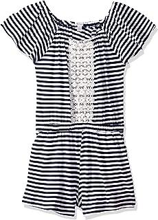 Ella Moss Girls' Big Yarn Dyed Stripe Lace Romper