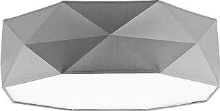 Lámpara de techo 4 x E27 52 cm Dormitorio Blanco Negro Gris -Salón, piso, comedor 230 V Lámpara de metal-plástico, Gris 1566, E27 60W