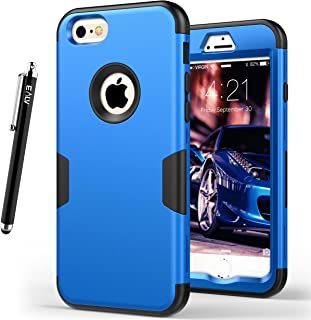 E LV Designed iPhone 6S Case Shock Absorption/HIGH Impact Resistant Full Body Hybrid Armor Protection Defender Case Cover for Apple iPhone 6S / 6 [Dark Blue/Black]
