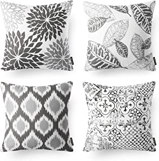 Phantoscope Set of 4 New Living Series Decorative Grey Throw Pillow Case Cushion Cover 18 x 18 inches 45 x 45 cm