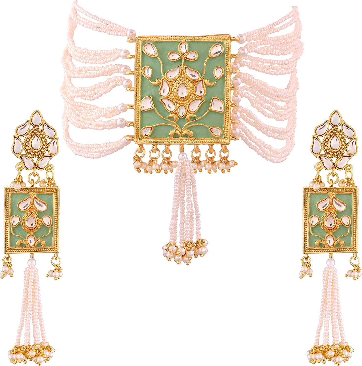 I Jewels Gold Plated Indian Bollywood Padmavati Pearl & Kundan Necklace with Earrings for Women (ML118)