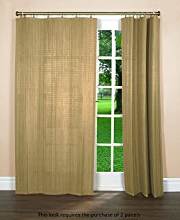Bamboo Ring Top Curtain Window Panel, 40 by 84-Inch L x H, Driftwood