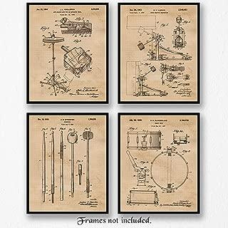 Original Drums Patent Poster Prints, Set of 4 (8x10) Unframed Photos, Wall Art Decor Gifts Under 20 for Home, Office, Garage, Man Cave, DJ, Musician, College Student, Teacher, Band & Rock & Roll Fan