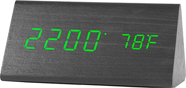 Digital Clock Wooden LED Alarm Clocks With Triple Alarms 3 Brightness Levels Large Digit Green Display Date And Temperature For Bedside Bedroom And Office Wood Desk
