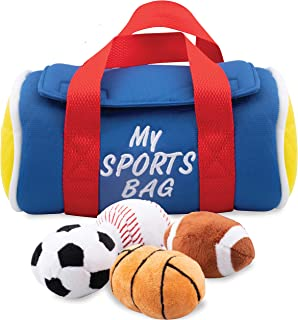 Etna My Sports Bag with Sound Playset - Stuffed Plush Basketball, Baseball, Soccer Ball and Football, Soft & Cute Toys Great Gift for Baby Shower, Kids Boys/Girls, Pre-School Children, 5 Pieces