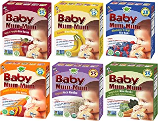 Hot-Kid Baby Mum-Mum Rice Rusks Variety Pack of 6 (Organic Original, Banana, Vegetables, Apple & Pumpkin, Carrot & Sweet Potato, Blueberry & Goji) - 1.76 Ounce