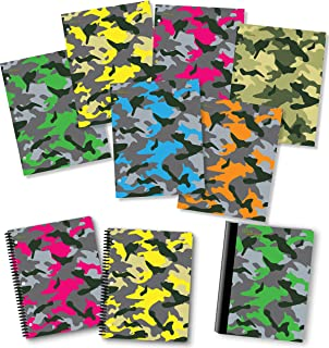 NEW GENERATION – Camouflage - Fashion School Supplies 2 Pocket Folders Value Pack with Eye-Catching Designs – Durable Set with 6 School Folders,1 Composition Notebook, 2 Spiral Notebooks