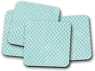 Posavasos azules con un diseño geométrico blanco y rosa, posavasos individuales o juego de 4