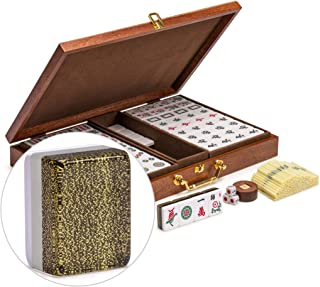 Yellow Mountain Imports Chinese Mahjong, Elvis Gold with Wooden Case - Set of Betting Sticks, Wooden Spinner & Dice - Not for American Mahjong Play