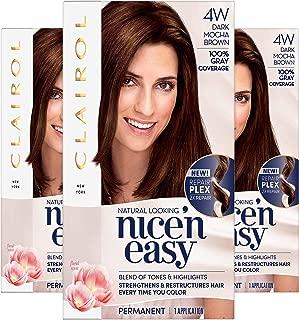 Clairol Nice'n Easy Permanent Hair Color, 4W Dark Mocha Brown, Pack of 3