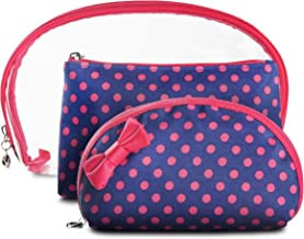 Makeup Bags for Women | Make up Bags | Cosmetic Bags | Small Pouch Bags | Travel Pouch by LVLY (Pink and Blue Polka Dots)