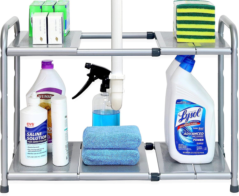 SimpleHouseware Under Sink 2 Tier Expandable Rac Organizer Max 66% Industry No. 1 OFF Shelf