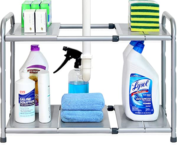SimpleHouseware Under Sink 2 Tier Expandable Shelf Organizer Rack Silver Expand From 15 To 25 Inches