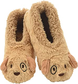 Womens Slippers Furry Foot Pals - Animal Slippers for Women - Puppy