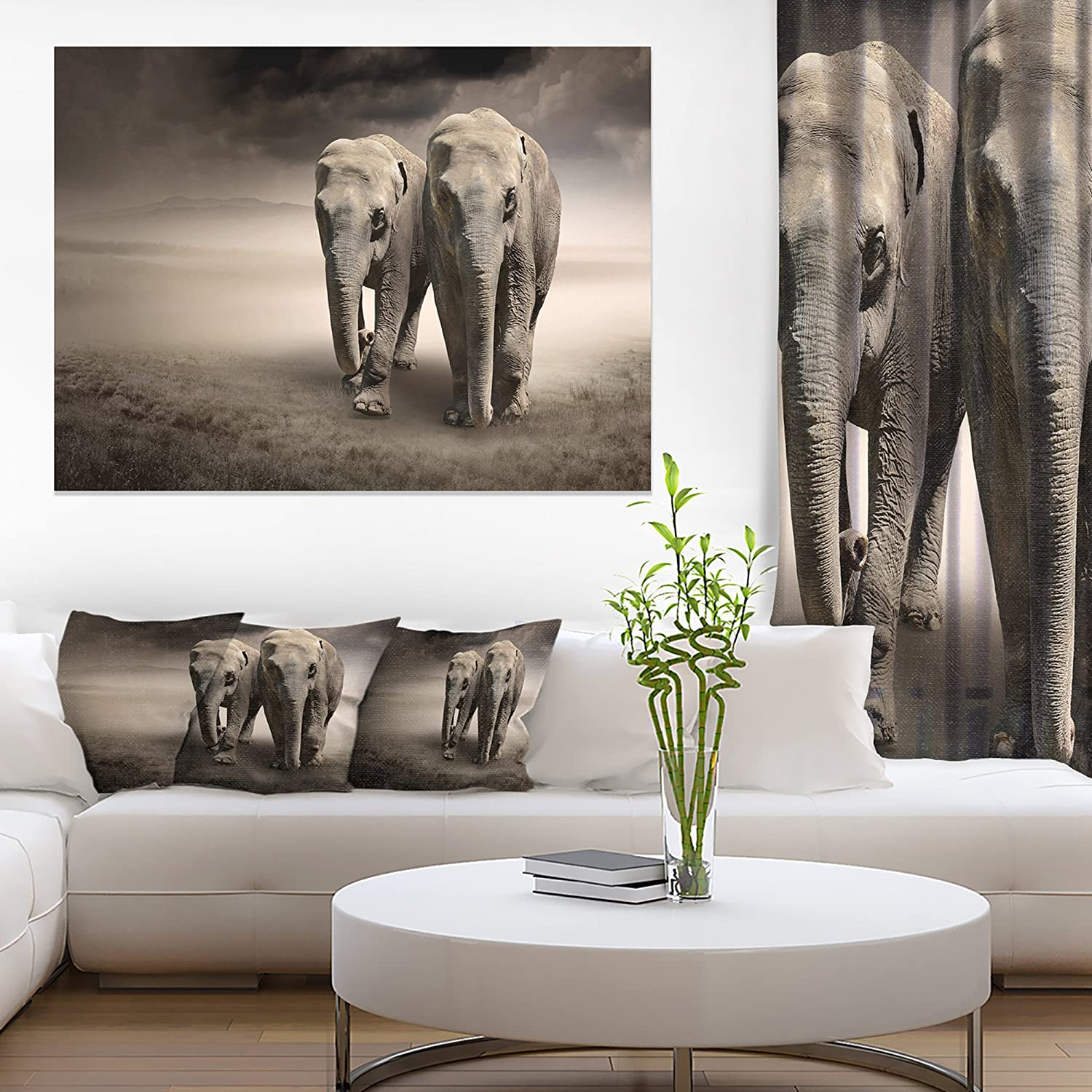 Elephant Pair in Motion Animal Canvas Wall Art