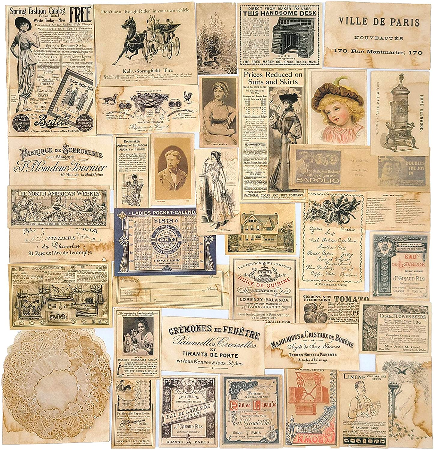 Vintage Junk Journal Papers Coffee Decoupage Mesa Mall Scrapbo OFFicial shop Stained for