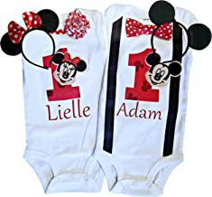 Boy Girl Twin Outfits 1st Birthday Mickey and Minnie Personalized