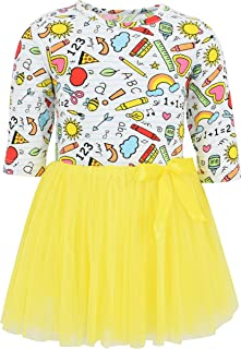 Unique Baby Girls Long Sleeve Back to School Fun Supplies Print Tutu Dress