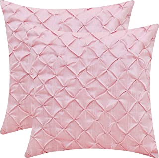 Baby Pink Throw Pillow Cases (Faux Silk, Pinch Pleat, 14x14 inch, Pack of 2)