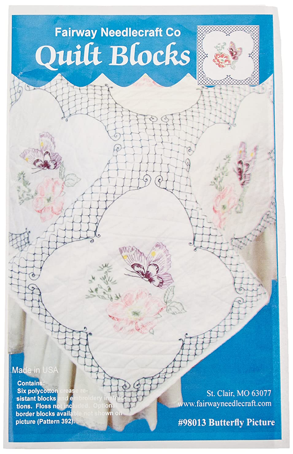 Fairway Butterfly Picture Stamped Quilt Blocks (6 Pack), 18