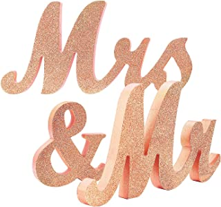 Bettewoo Wooden Mr and Mrs Wedding Table Sign Color Glitter Rose Gold