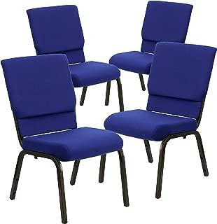 Flash Furniture 4 Pk. HERCULES Series 18.5''W Stacking Church Chair in Navy Blue Fabric - Gold Vein Frame