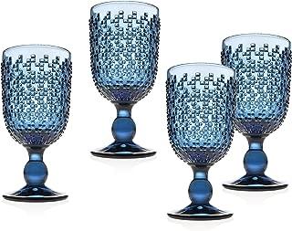 Wine Goblet Beverage Glass Cup Alba by Godinger - Blue - Set of 4