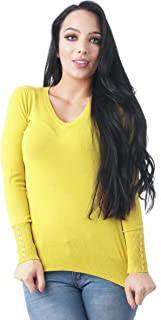 Khanomak Women's Long Sleeves V Neck Knit Sweater Top with Buttons