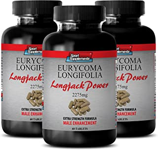 Ginseng Capsules - Longjack Power Eurycoma Longifolia 2275mg - Inrease Physical Recovery (3 Bottles - 180 Tablets)