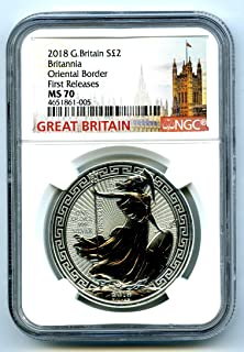 2018 GREAT BRITAIN 1 OZ SILVER BRITANNIA ORIENTAL BORDER FIRST RELEASES S2PD MS70 NGC