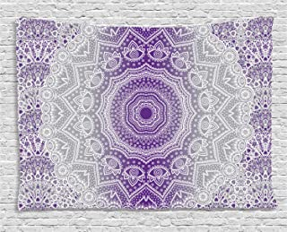 purple and grey tapestry