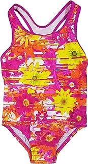 Speedo Big Girls' Solid Infinity Splice One Piece Swimsuit (14, Pink Orange Flower)