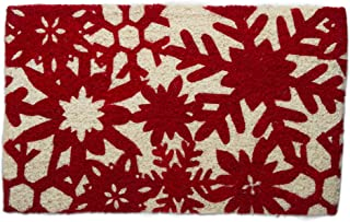 """Tag Snowfall Snowflakes Holiday Winter Coir Doormat Indoor Outdoor Welcome Mat 1'6"""" x 2'6"""" Multicolored"""