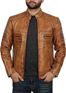 Camel Leather Jacket for Men - Café Racer Jacket for Men | Austin, S