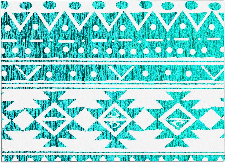 KESS InHouse MM1103ADM02 Nika Martinez Aquamarine Tribal Teal bluee Dog Place Mat, 24  x 15