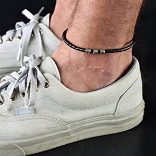 Handmade Black Anklet For Men Set With 3 Silver Plated Beads By Galis Jewelry - Ankle Bracelet For Men - Beaded Anklet For Men - Leather Anklet For Men