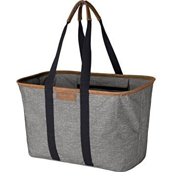 CleverMade 30L SnapBasket LUXE - Reusable Collapsible Durable Grocery Shopping Bag - Heavy Duty Large Structured Tote, Heather Grey