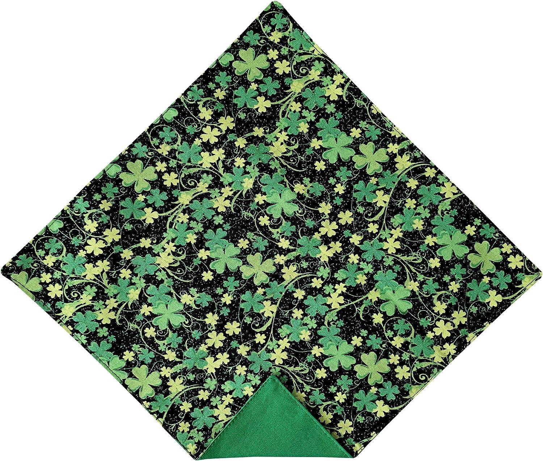 Holiday Bow Ties Mens Shamrock St. Patrick's Day Black and Green Pocket Square