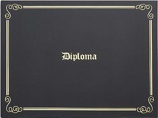 文凭夹 - 金箔印的证书夹,信纸大小*纸证书封,4 个角丝带,黑色,29.21 x 22.86 厘米