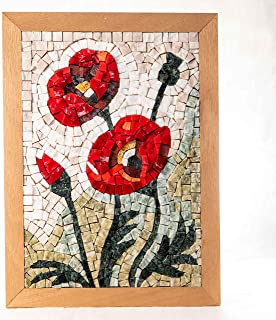 Kit Mosaico Fiori di campo, Papaveri 32x23cm - Quadro fai da te hobby creativo - Tessere mosaico in marmo e Vetri di Muran...