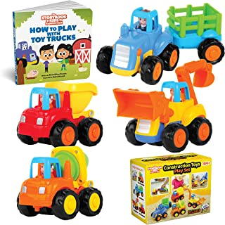 Educational Play Set for Kids Age 1, 2, 3 - Push & Pull Cars for Two Year Olds  - Storybook Toys for 2 Year Old Boy - Toys...